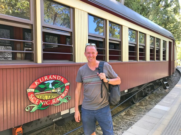 Mark as we prepare to set off on the Kuranda Scenic Railway. Originally built to service the mining industry in the area, for decades now it is primarily a tourist attraction. I loved the old-school feel of it, particularly the open windows!