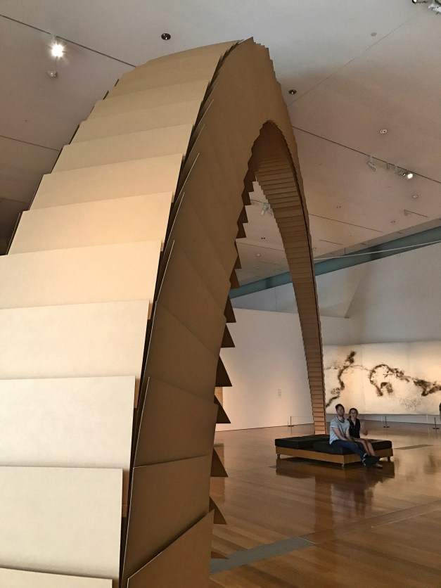 Tobias Putrid is a Slovenian artist who built this arch - explicitly modeled on the Gateway Arch of St. Louis - of precisely sized cardboard boxes. The point was to demonstrate the paradox of an arch's solidity and permanence when it's made of cardboard.