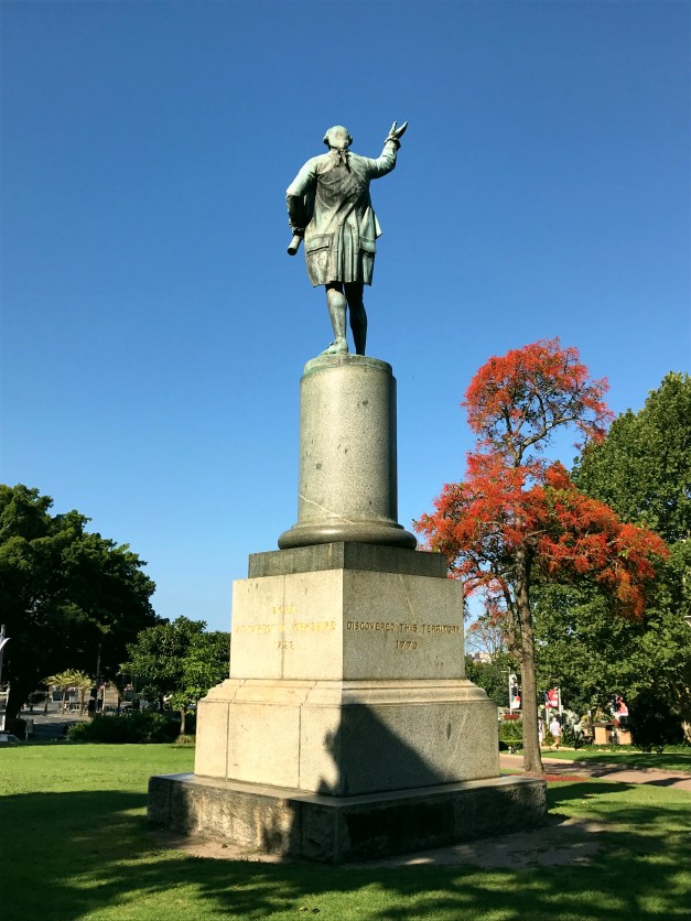 """A statue of James Cook in the beautiful Hyde Park, described as having """"discovered"""" Australia. Strange concept to """"discover"""" something where thousands of people already live."""