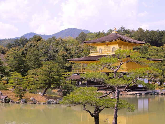 The Temple of the Golden Pavilion, one of 17 sites in Kyoto that make up a UNESCO World Heritage designation. The original building dates to the late 14th century, but the current building dates from just 1955.