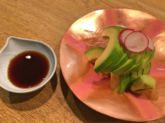 Avocado sashimi on the most beautiful plate we've seen so far
