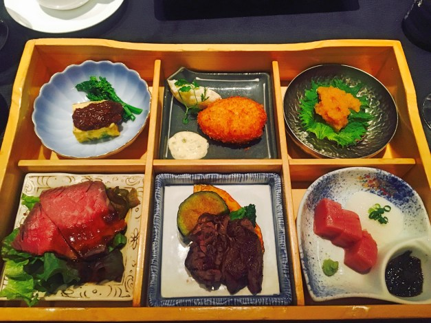 Finding the right food was a challenge in Nagoya; somehow we found it more difficult than in other cities we've been. But if you work at it, you can still find lunches like this.