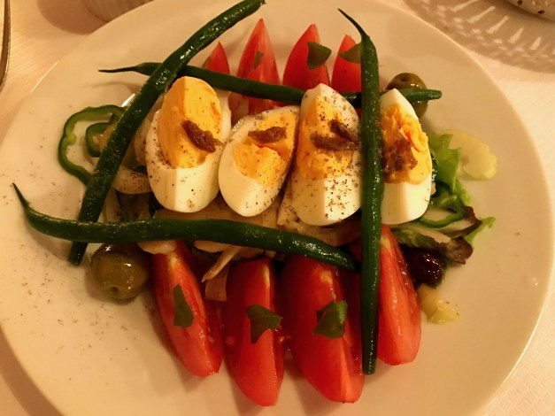 And oddly, a nice French restaurant with this Niçoise salad. I say oddly, since of course we're off to Paris from here but we decided to do a little preview of our next stop for dinner one night.