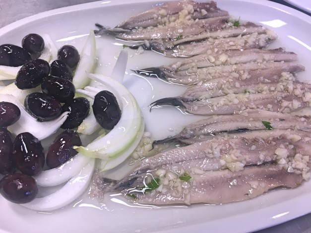 And yes, there was food. Mark loves these boquerones, fresh anchovies in vinegar