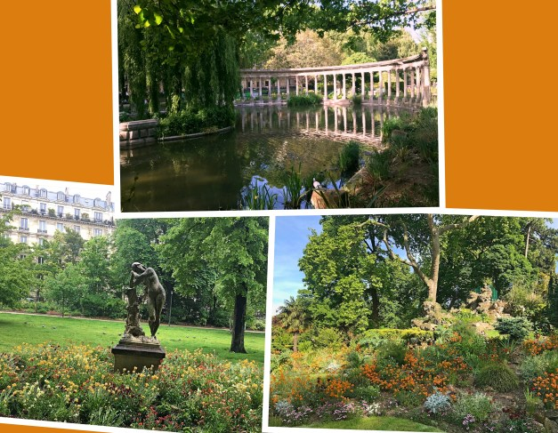 If Paris is my favorite city on earth, Parc Monceau may be my favorite spot on earth. Here are three views of the park, including some fake Roman ruins. We were there one rainy day and had it almost to ourselves. Then I went back on a sunny day and there were thousands of people in the park.