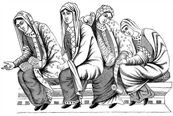 ink outline drawing of four 1st century women