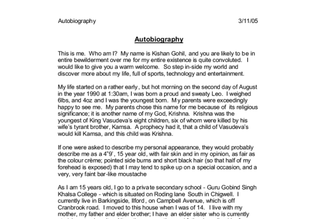 how to start an autobiography essay for college