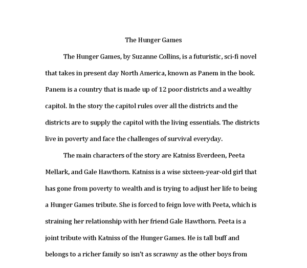 book report the hunger games by suzanne collins is a document