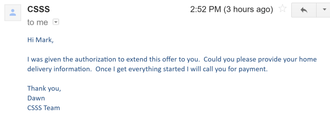 email from Dawn promising the offer