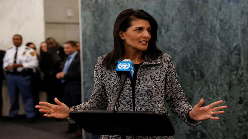 """Haley said the US will """"show strength"""" at the UN [Mike Segar/Reuters]"""