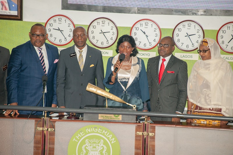 L-R: Mr. Peter Elumelu, Non-Executive Director, Africa Prudential Plc; Mr. Oscar Onyema, CEO, Nigerian Stock Exchange; Chief (Mrs.) Eniola Fadayomi, Chairman, Africa Prudential Plc; Mr. Peter Ashade, Managing Director/CEO; and Ammuna Lawan Ali, Non-Executive Director (Independent), Africa Prudential Plc, at the Closing Gong Ceremony held at Exchange floor in Lagos, recently.