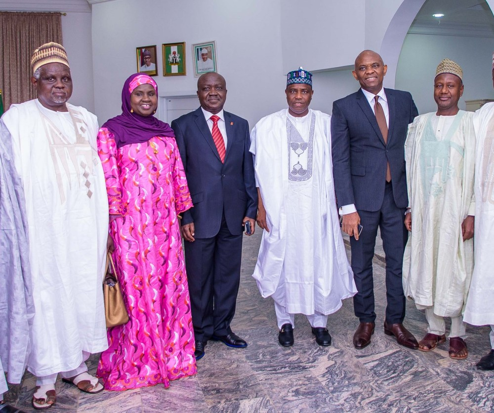 "Vice Chancellor, Usmanu Danfodiyo University, Sokoto, Professor Abdullahi Abdu Zuru; Regional Director, United Bank for Africa (UBA) Plc, Hajiya Aisha Na'Allah; Executive Director, North, UBA Plc. Ibrahim Puri; Executive Governor, Sokoto State, Alhaji Aminu Tambuwal; Chairman, UBA Plc and Founder, The Tony Elumelu Foundation, Tony O. Elumelu; and Former Executive Director, UBA Plc, Alhaji Abdulqadir J. Bello when Tony Elumelu paid a courtesy visit to the Governor ahead of the National Dialogue Series where Elumelu  spoke on ""Entrepreneurship: An Antidote to Nigerian Youth Unemployment"", at the Usmanu Danfodiyo University in Sokoto on Saturday"