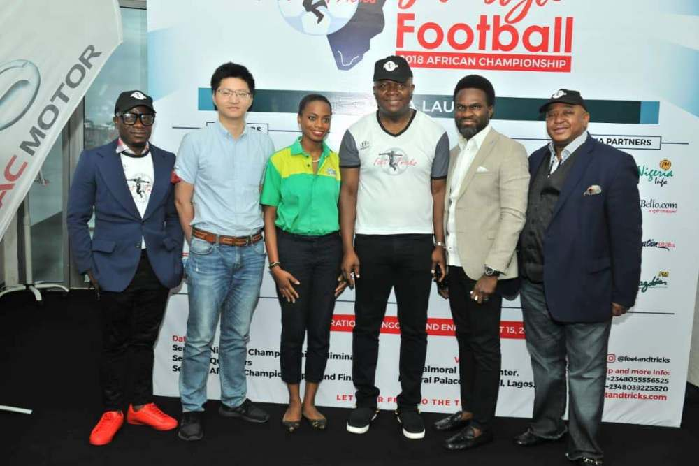 L-R: Godwin Nwanagu, Director, Feet 'n' Tricks International; Mr Scofield Wu, Manager, GAC Motors Africa; Jumoke Oyewole-Lawuyi, Brand Manager, Sprite; Valentine Ozigbo; Chairman, Feet 'n' Tricks International; Mary-Callista Ozigbo; Iheanyi Nzekwe; Distributors of Scavi & Ray, Mr Fela Ibidapo, Divisional Head, Communications, Heritage Bank; and Olisa Adibua, Director, Feet 'n' Tricks International, during the Press Conference to announce the commencement the call for entries for Freestyle Football 2018 African Championship to be organised by Feet 'n' Tricks International in partnership with the World Freestyle Football Association (WFFA) ,in Lagos on Friday