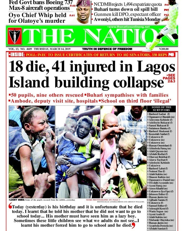18 die, 41 injured in Lagos Island building collapse