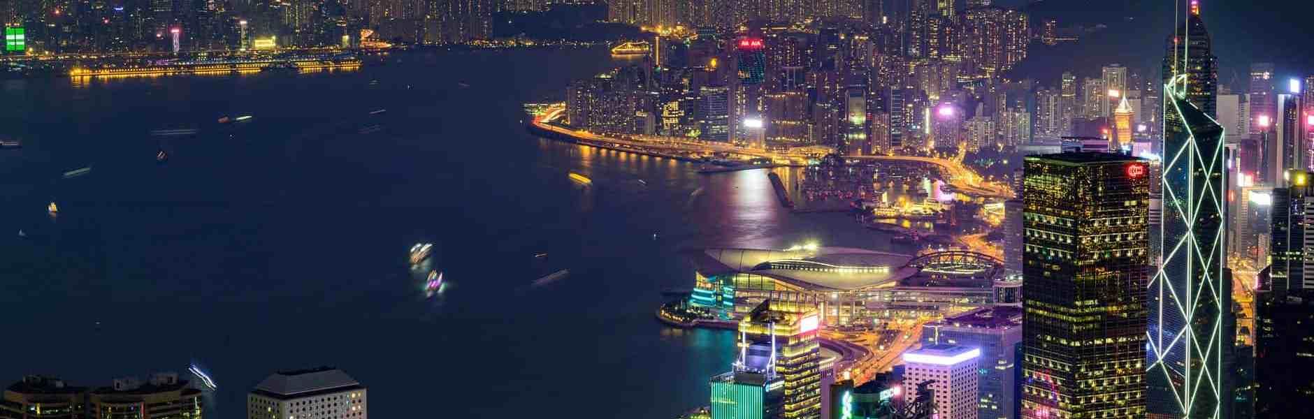 photo of hong kong skyline at night