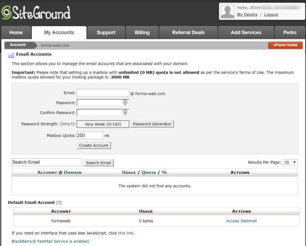 The interface for creating an email via the cPanel offered by SiteGround