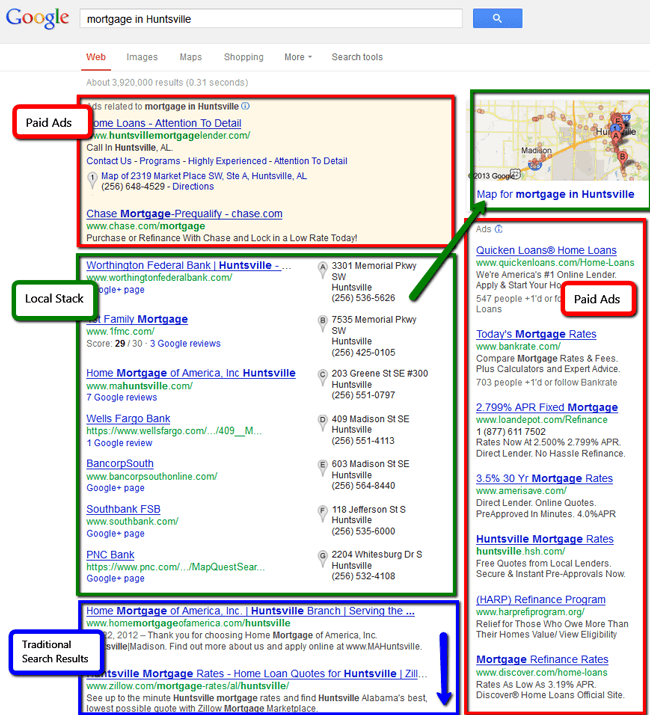 Google Search Results for Mortgage in Huntsville