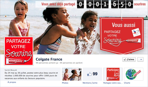 Page Facebook Colgate Sourire