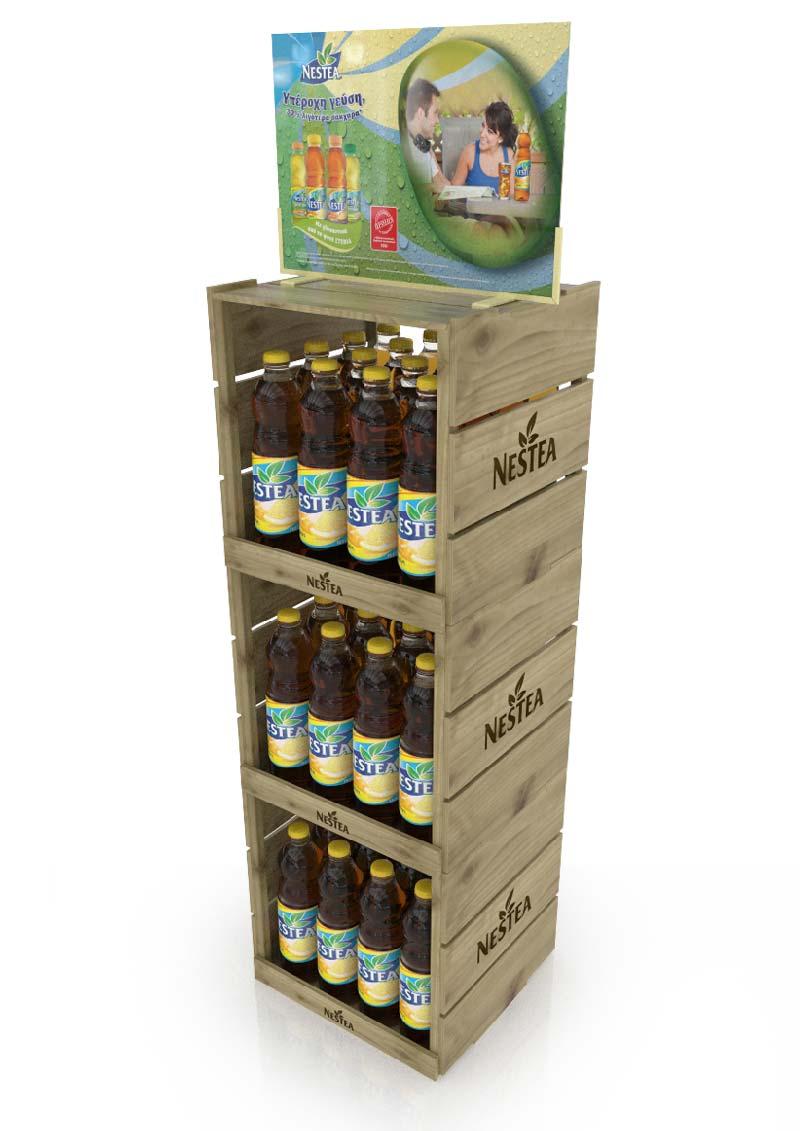 Coca Cola Grêce à développé 600 unité de ces PLV en bois modulables pour animer sa boisson de thé glacé Nestea, en hyper, super et chez les distributeurs indépendants.