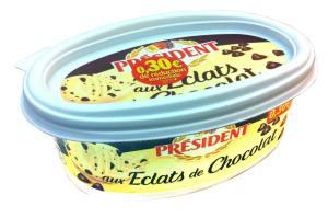 Présdent propose depuis juin sa recette de beurre au chocolat. 225 g vendus entre 1,63 € et 2,23 € suivant les magasins.