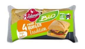 Des pains Bio, sans huile de palme, pour La Boulangère. 1,55€ les 4 burgers.