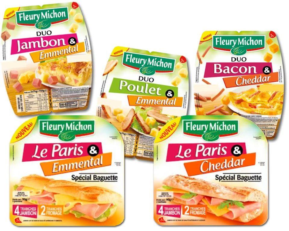 Combinant les aides culinaires, Fleury Michon propose 5 références duo fromage-charcuterie.