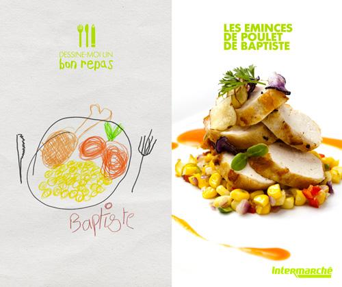 Intermarché se lance le défis de transformer les repas imaginaires des enfants en véritables plats.