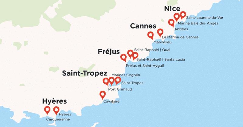5 hypers Géant livrent 14 points de retraits proches des ports pour les plaisanciers du Sud Est.