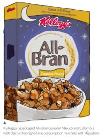 Céréales All-Bran, promesses d'aide à la digestion pendant la nuit. Kellogg's, Mexique.
