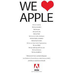 Adobe lanza una campaña contra Apple