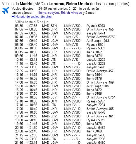Google integra información sobre vuelos en su buscador