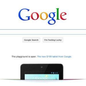 Google inserta por primera vez un anuncio animado en su página de inicio para la Nexus 7