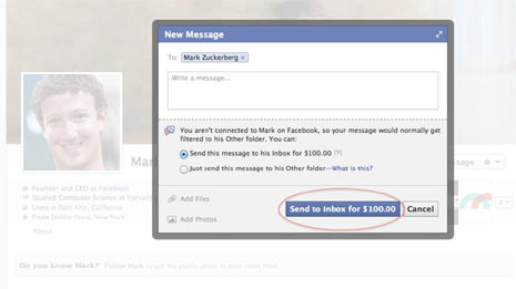 Facebook cobra 100 dólares a sus usuarios por enviar mensajes directos a Mark Zuckerberg