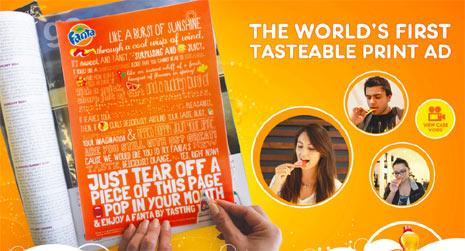 """Fanta presume de ser la primera marca en lanzar un anuncio impreso que se """"saborea"""""""