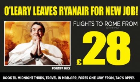"""El CEO de Ryanair se convierte en el """"Papa Mick"""" en un nuevo anuncio de la aerolínea irlandesa"""