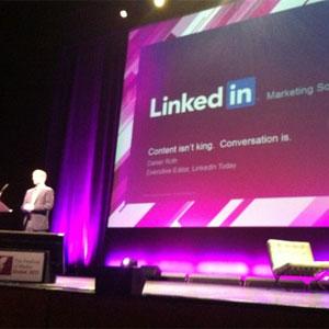 """""""La clave no está en el contenido sino en la conversación"""", según D. Roth (LinkedIn) en #FOMG13"""
