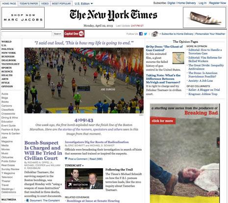 """¿Un anuncio sangriento junto a las noticias de los atentados de Boston? No, no es un """"lapsus"""""""