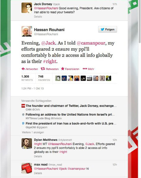 El presidente de Irán responde a un tuit del fundador de Twitter indicando que la red social será pronto permitida en Irán