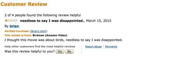 Screenshot Fiese Ein-Stern-Bewertungen bei Amazon und Co./ 03_Birdman_Amazon