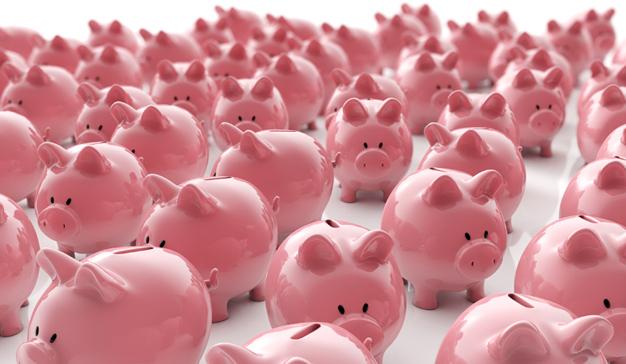 Sparschweine Gruppe - Geld sparen / 3D Illustration
