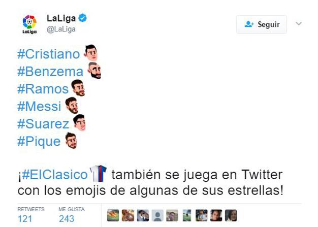 Así son los emojis que activó Twitter para el Clásico de fútbol Madrid-Barça