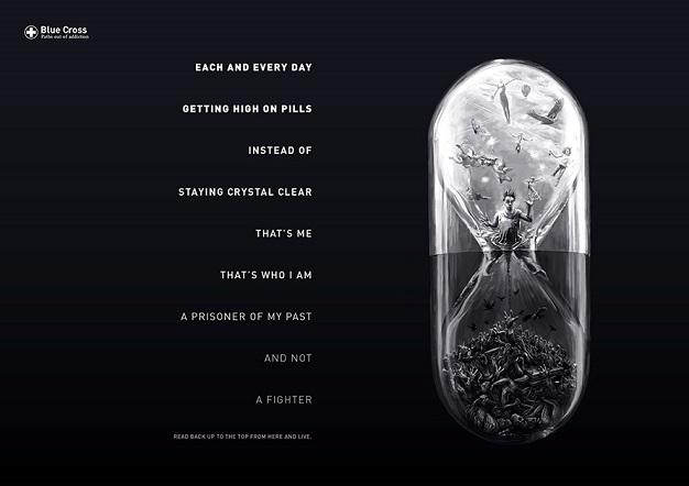 Esta campaña impresa contra la adicción puede leerse en dos sentidos