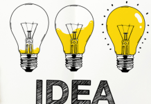 Idea bulbs for content marketing drawn