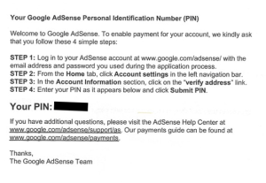 adsense verification pin code mail
