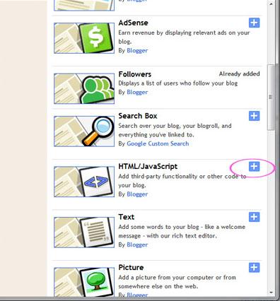 HTML/JavaScript Gadget Screen Blogger
