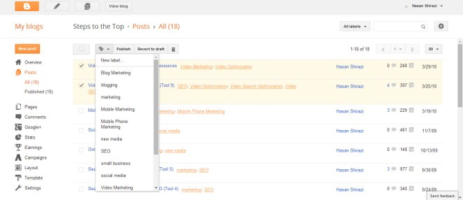 Manage Labels in Blogger