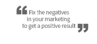 Fix the negatives in your marketing to get a positive result