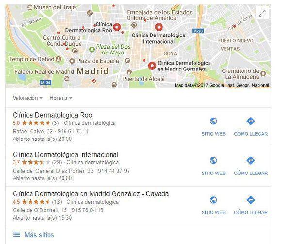 busqueda google dermatologo madrid