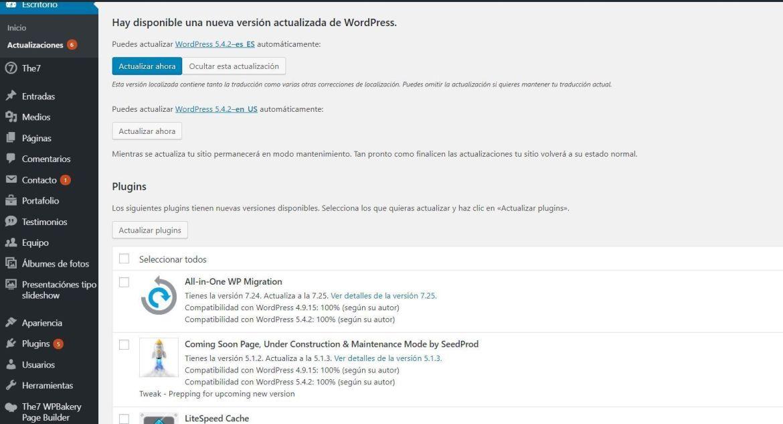mantenimiento y actualizaciones wordpress