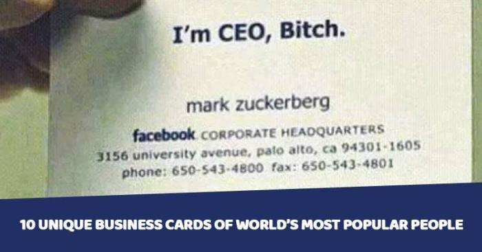 10 Unique Business Cards Of Worlds Most Popular People Marketing Mind
